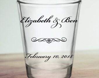 Custom Classic Script Personalized Wedding Favor Shot Glasses
