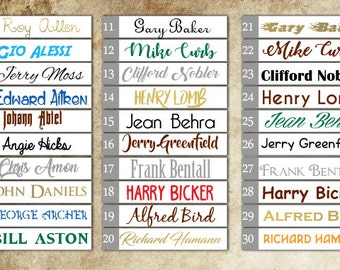 FULL NAME DECAL, 30 Types of Custom Pesonalised Full Name Decal, Nursery Bedroom Wall Decor, Lettering, Custom Size Colour, Removable Vinyl