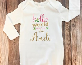 Hello World Customized Newborn Gown, Coming Home Outfit, Gold Glitter, Newborn Girl, Hello World Baby Name, Baby Gown, Newborn Gown