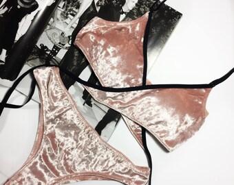 Velvet handmade strappy lingerie set