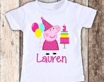 Peppa Pig 2 custom designed birthday t shirt tshirt personalized