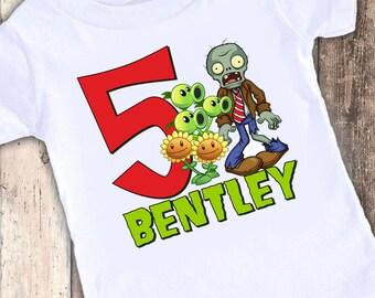 Plants vs Zombies custom designed birthday t shirt tshirt personalized