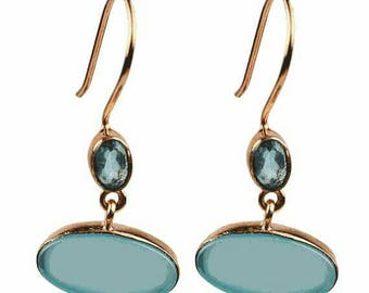 CHALCEDONY & Blue Topaz Rose gold plated Earrings 925 SOLID Silver Jewelry with free shipping