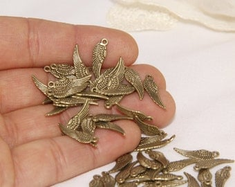 50 Pcs Antique Bronze 12mm Wing Charms, Wing Findings, Solid Brass Blank, Antique Brass Wing , Stamping Blanks, TNC41
