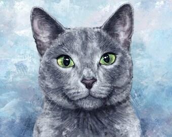 Custom Cat Portrait Custom pet portrait Digital drawing Portrait from photo  Cat lover gift Realistic portrait cat memorial