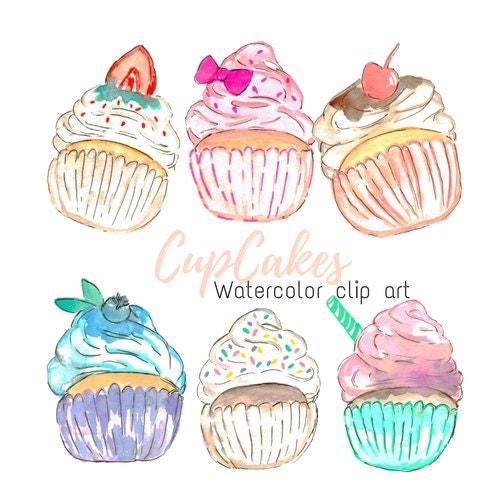 Watercolor Cake Clip Art : Watercolor Clip Art Cup Cake Clip Art bakery clip art Food