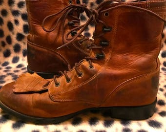 Vintage 1980s Brown Leather Lace up ARIAT Western Style Boots JUSTIN Boots Women's Size 8 Steampunk Hipster