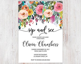 Shabby Chic Sip n See Invite, Floral Sip And See Invitation Printable or Printed, Flower Welcome Baby Invites with Colorful Flowers 8