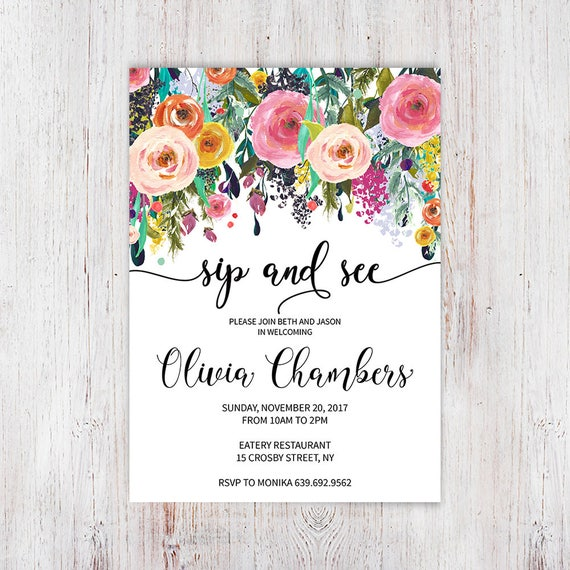 Shabby Chic Sip n See Invite Floral Sip And See Invitation