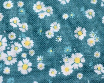 turquoise floral fabric, flower Quilting fabric,  cotton fabric, turquoise fabric, fabric by the metre, daisy fabric,