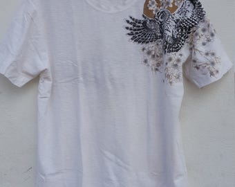 Vintage Owl Bird Sukajan T-Shirt Embroidery White Colour Extra Large Size