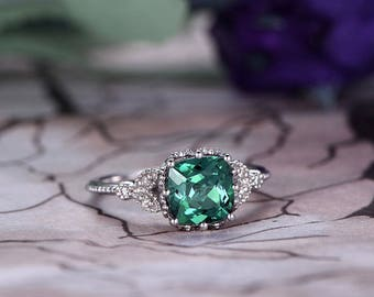 alexandrite engagement ring14k white gold7mm cushion cutanniversary ring promise - Alexandrite Wedding Ring