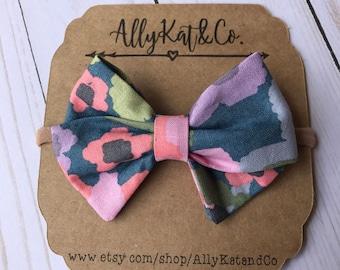 Floral {Classic} Fabric Bow//Nylon Headband//summer bows//baby girl bows