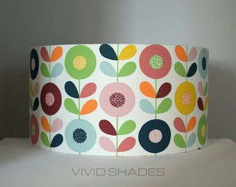 Lampshade Scandi fabric 30cm 40cm or 45cm handmade by vivid shades, retro genuine Scandinavian fabric geometric flower pattern lamp shade