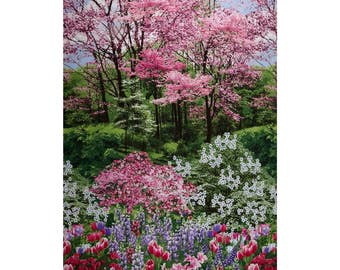 Botanical Garden Fabric Panel Timeless Treasures Spring Nature Walk C2759
