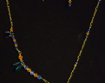 Whimsy:  Asymmetric Beaded Necklace For Girls With Handmade Beaded Dragonflies