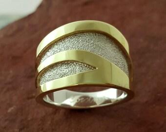 The Skylark Sterling and Brass Ring