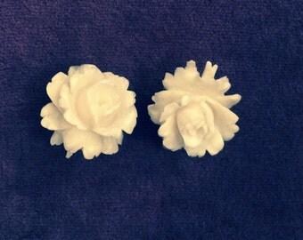 Carved Bone Rose Earrings. Vintage. Gilt-Metal Clips 1930's-50's. Weddings. Bridal