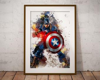 Marvel Comics Hero Captain America Poster Watercolor Print Hero Watercolor Art Print, Superhero Poster Watercolor Wall Art n449