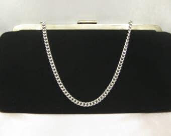 Black Vintage Evening Bag Clutch Chain Strap Handle Handbag Metal Frame Hard Case Fabric Purse Elegant Formal Old Fancy Party Tote