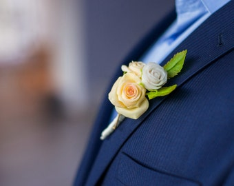 Boutonniere With Peach-Colored Roses - Polymer Clay Flowers