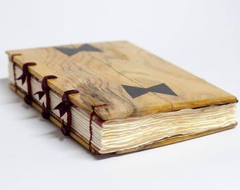 Handmade elm wood book, wedding guest book, writing journal, rustic guest book, unique gift, 15 x 21 cm