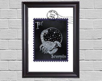 Scorpio Zodiac - stamps