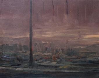 Harbour in mists, impresionsm landscape, Autors work, Framed