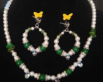 Green Jade and Pearl Jewelry Set