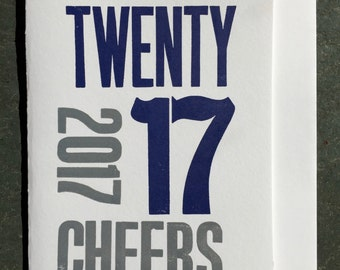 2017 Cheers Letterpress Greeting Card