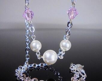 Light Rose Pink Swarovski Crystal Necklace, Pink Crystal Necklace, Rose Pink Pearl Necklace, Swarovski Pearl Necklace, Light Pink Necklace