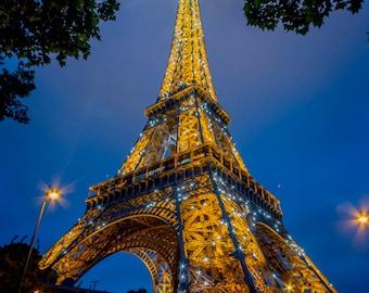 Torre Eiffel, París Francia, fotografía de París, Torre Eiffel imprimir, París impresión fotográfica, arte de pared de Francia, París crepuscular, arte de la pared