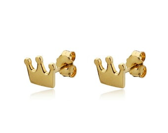 Princess Crown Stud earrings 14k Gold Solid Small Tiara Posts Whimsical Jewelry, Birthday Gift for her