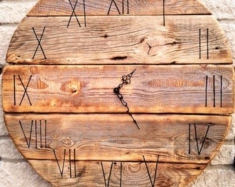 """Huge 70cm 27.5"""" Diameter Round Board Personalized Handmade Rustic Driftwood Reclaimed Wood Shabby Chic Vintage Wall Clock Home decor Gift"""