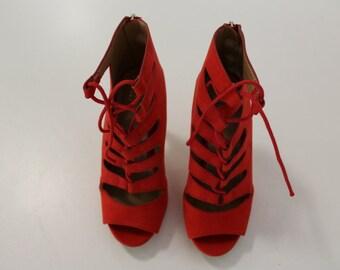 Open Toe High Heels (Red)