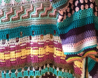 Stitch sampler afghan