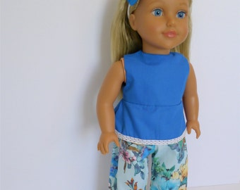 "Made for American Girl 18"" Type Dolls. Wide leg floral trousers, Peplum Top and Felt Headband"