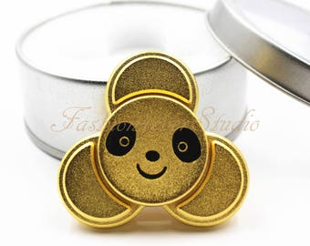 Matte Gold Panda Fidget Spinner, Hand Spinner, Premium Stainless Steel Metal Spinner,Ultra Durable High Speed 3-5 Mins Spins (with Case)