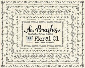 80% OFF! - Pattern Brushes for Illustrator - Floral 01