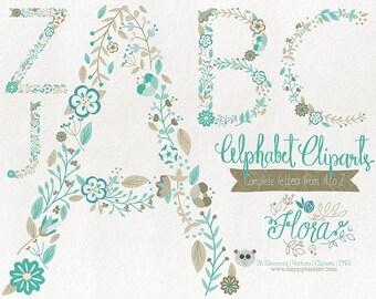 Flowers Clipart Alphabet Clipart Letters Vector Graphics Clip Art PNG Flowers Floral 06 Teal Brown
