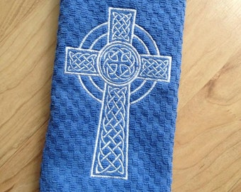Celtic Cross Embroidered Tea Towels - Christian boutique unique towel - waffle weave cotton towel -Baptism, First Communion, Christmas