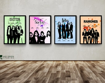 Classic Rock Band Poster, The Beatles, Pink Floyd, Ramones, Led Zeppelin, Wall Art, Decor, Custom Made Posters