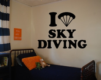 Wall Decal Sticker Bedroom i love skydining parachut free flying wing suit 034b