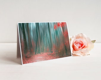 """Autumn Woods Greeting Card (with envelope), Notecard, A7 5x7"""", Red and Teal Woods Landscape   """"Autumn Forest"""""""