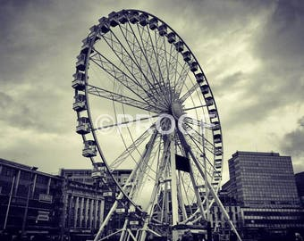 Nottingham Ferris Wheel PRINT Black and White