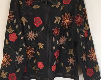 Fabulous Vintage Chicos Embroidered Zip Up Jeans Jacket Chicos Size 0