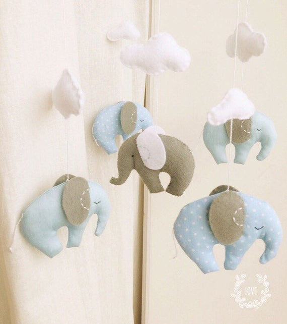 Baby Mobile,Nursery Decor,Baby Gift, Elephant Mobile,Cot Mobile,Blue Grey Mobile,Baby Mobile Hanger, Gentel Decor ,New Born ,Blue Grey