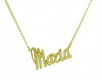 Rhodium-plated 925 Silver zirconia necklace with customizable sterlig promo name woman