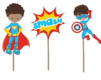 Superhero Cupcake Topper, superhero cupcake picks, superhero theme, superhero birthday party, superhero birthday decor, party supplies