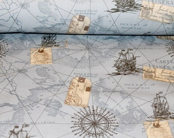 Vintage Map Colour Blue Cotton Print